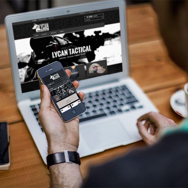 e-shop na míru lycan tactical pro prodej armádního oblečení na mobilu a na notebooku.