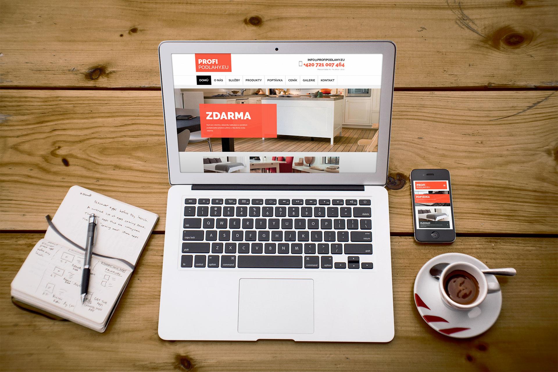 Internetové stránky profipodlahy a jejich zobrazení na mobilu i na počítači. Současně byl pro zákazníka připraven i e-shop.