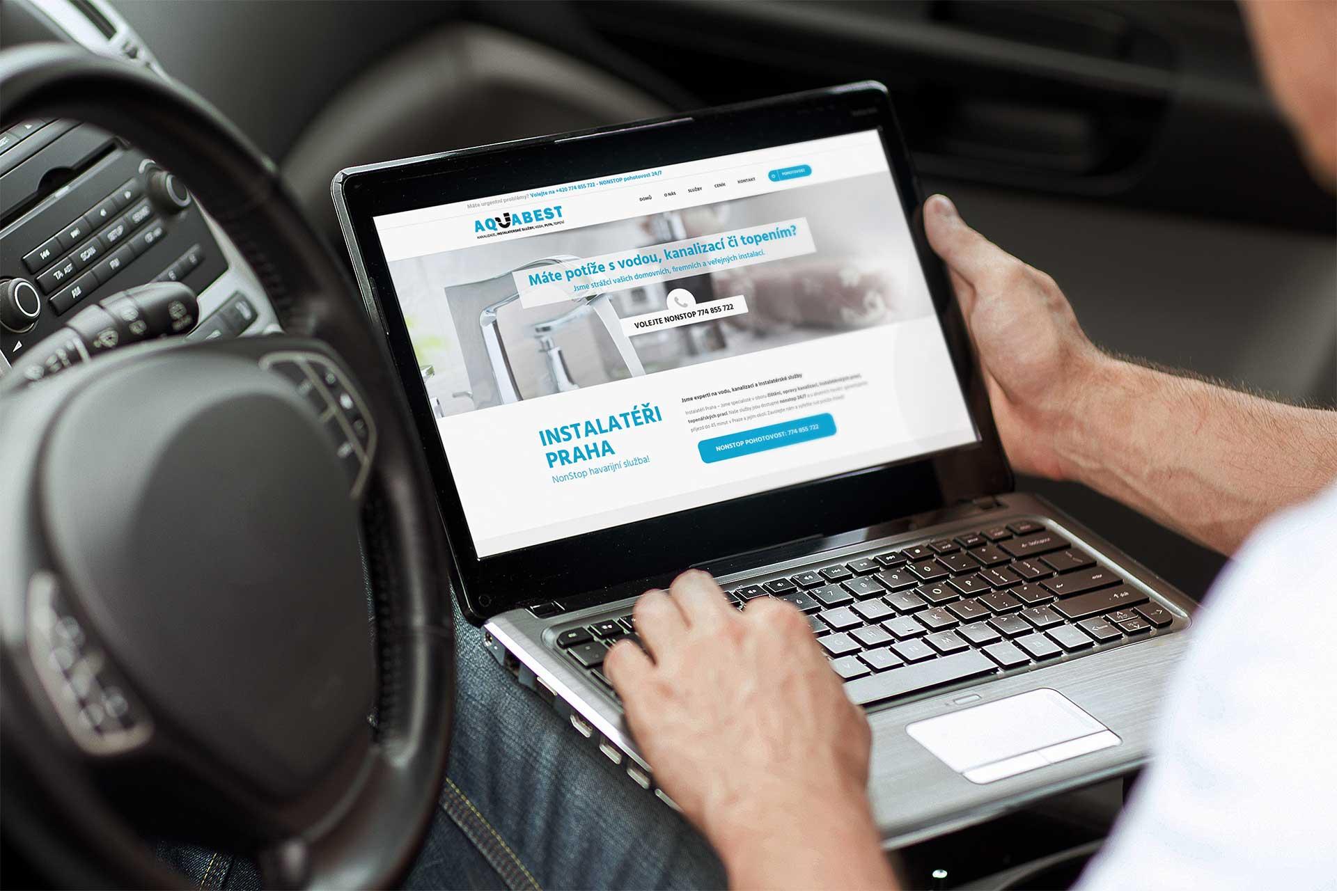 Webové stránky a landing page pro instalatéry aquabest. Reference webových stránek a kampaně.