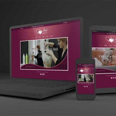 SalonAni a jejich internetové stránky prezentované na tabletu, mobilu a počítači. Krásný design, seo optimalizace a skvělé zpracování - to je skvělá reference.