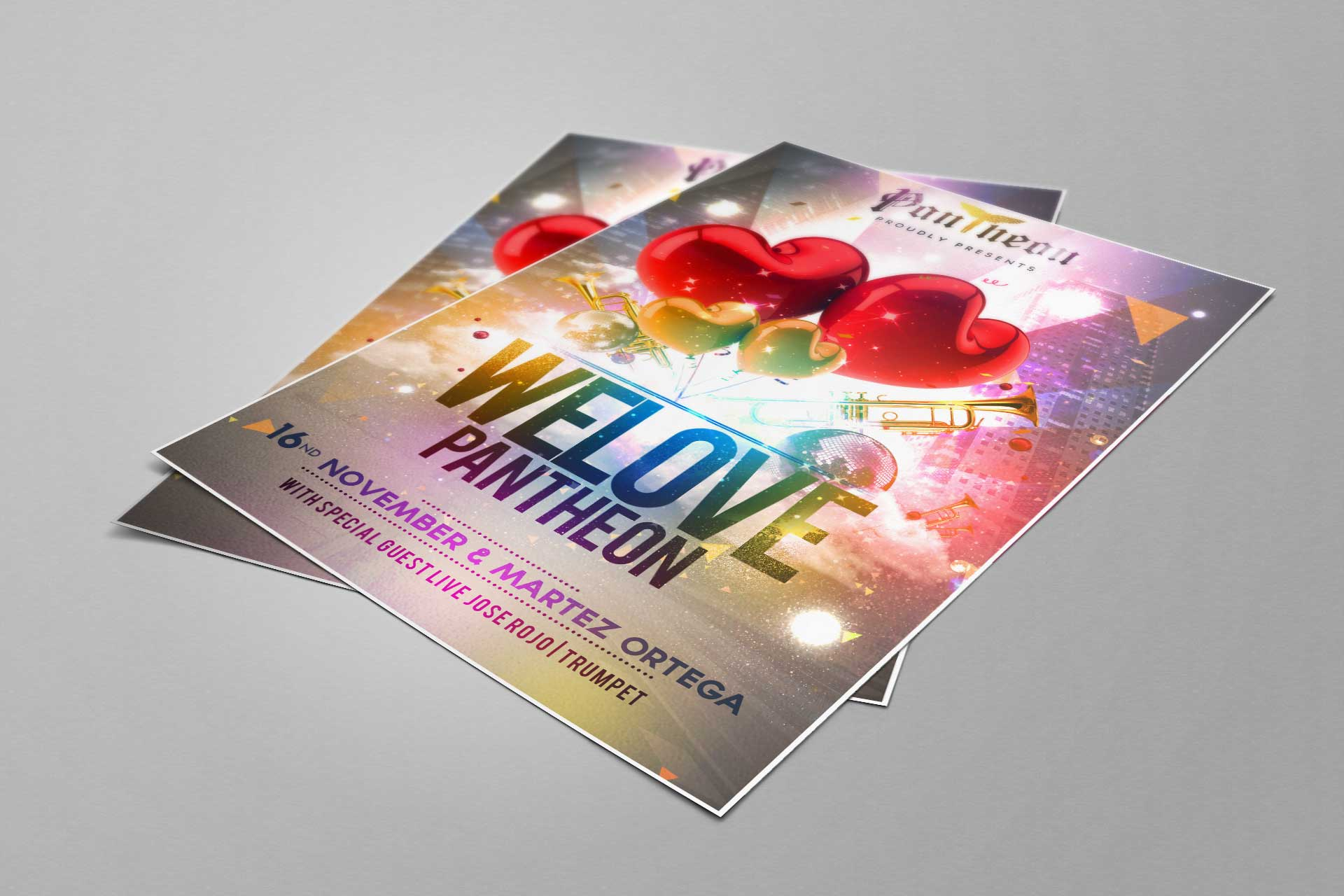 Reference výtisky flyeru / flyer na párty We Love Pantheon. Grafika na míru.