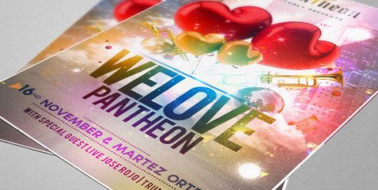 Reference výtisky flyeru / plakát na párty We Love Pantheon. Grafika na míru.